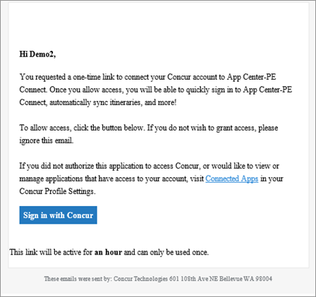 Example email that is sent if the user chooses Send a link to my email.