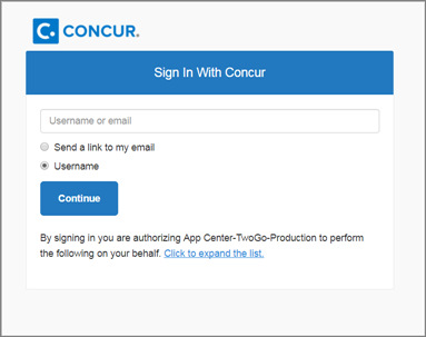 Concur authentication prompt for the user, after they have chosen to connect their account at the partner site with their Concur account. They have two options, Send a link to my email, or enter their username to authenticate.